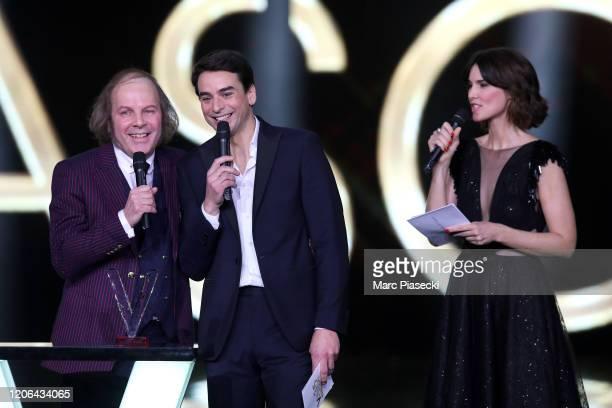 Philippe Katerine Julian Bugier and Eglantine Emeye attend the 35th 'Les Victoires De La Musique' Show At La Seine Musicale on February 14 2020 in...