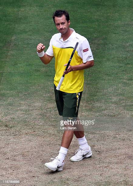 Philippe Kohlschreiber of Germany celebrates during his quarter final match against Lleyton Hewitt of Australia during day five of the Gerry Weber...