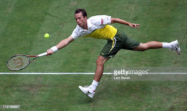 Philippe Kohlschreiber of Germany plays a forehand during his quarter final match against Lleyton Hewitt of Australia during day five of the Gerry...