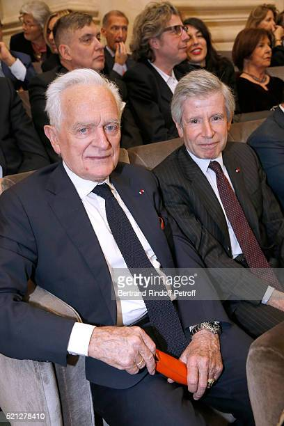 Philippe Labro and Alain Minc attend Marc Lambron becomes a Member of the Academie Francaise Official Ceremony on April 14 2016 in Paris France