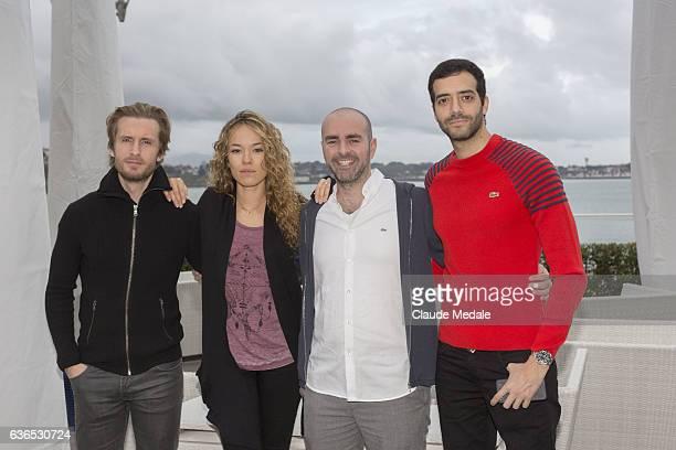 Philippe Lacheau Elodie Fontan Julien Arruti and Tarek Boudali attend the premiere of Alibicom on December 21 2016 in St Jean de Luz France