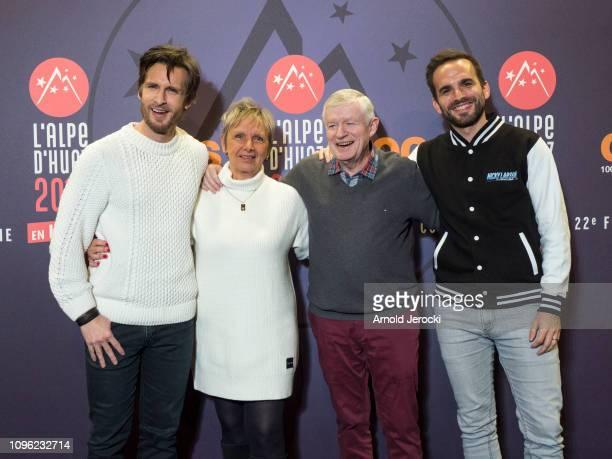 Philippe Lacheau with his parents and brother Pierre Lacheau attends 'Nicky Larson et le parfum de Cupidon' premiere during the 22nd L'Alpe D'Huez...