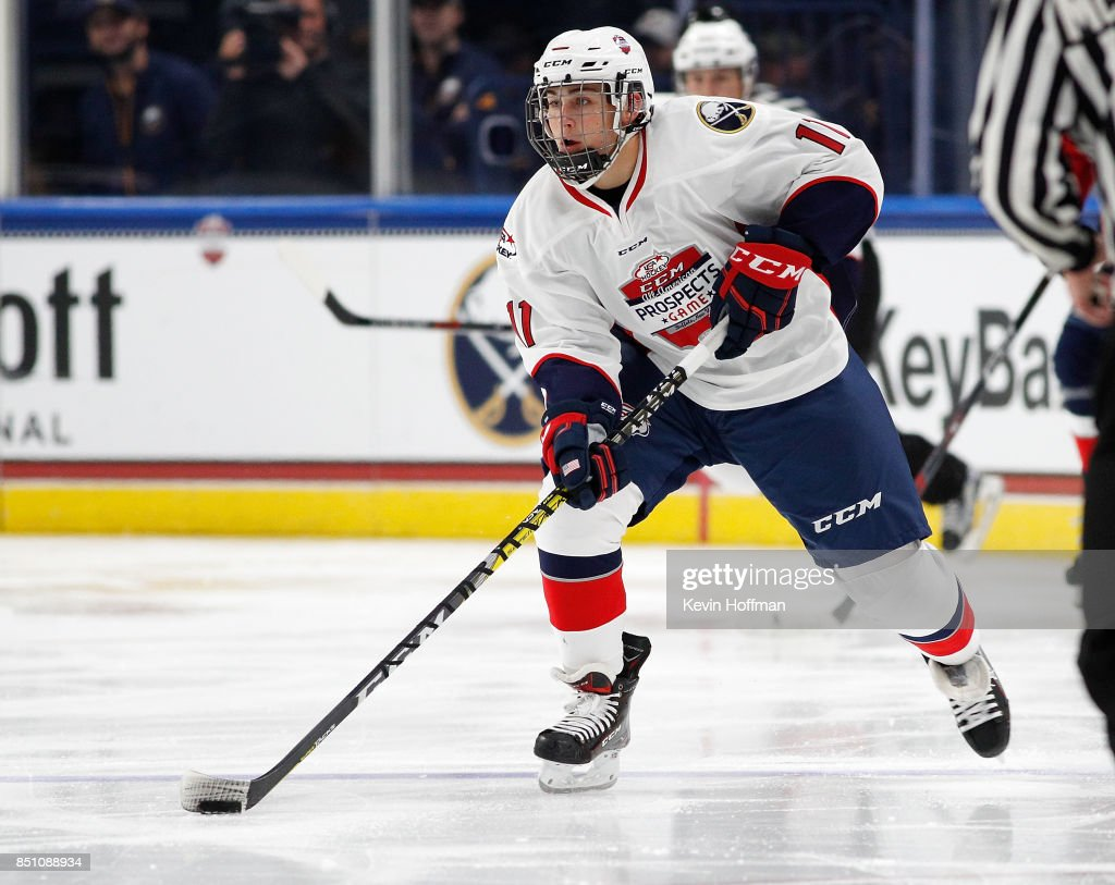 Philippe Lapointe #11 of Team Chelios with the puck in the third period against Team Leetch during the CCM/USA Hockey All-American Prospects Game at the KeyBank Center on September 21, 2017 in Buffalo, New York. Team Leetch beat Team Chelios 6-5.