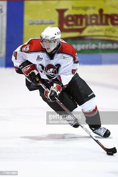 Philippe Lefebvre of the Drummondville Voltigeurs skates with the puck during the game against the Shawinigan Cataractes at the Centre Marcel Dionne...