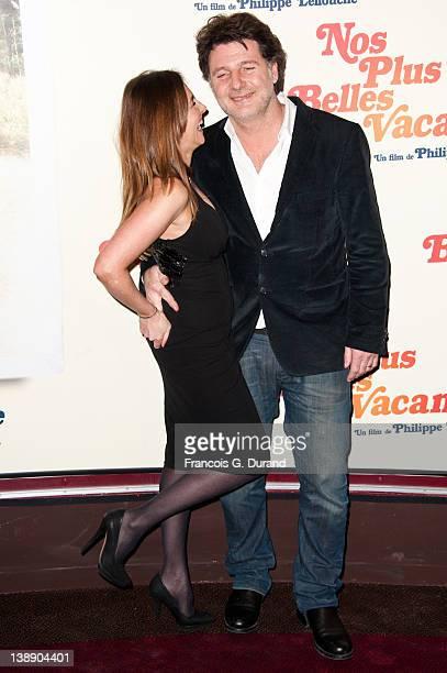 Philippe Lellouche and Vanessa Demouy attend 'Nos Plus Belles Vacances' Paris Premiere at Gaumont Champs Elysees on February 13 2012 in Paris France