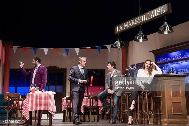 Philippe Lellouche Christian Vadim David Brcourt Vanessa Demouy pose on the stage at Theatre Du Gymnase before L'Appel De Londres Theater play on...