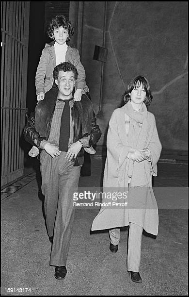 Philippe Leotard his companion Nathalie Baye and Leotard's son in Paris in 1978