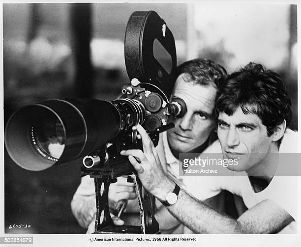 Philippe Leroy and Gabriele Tinti on a movie set in a scene from the movie 'The Wild Eye' circa 1967