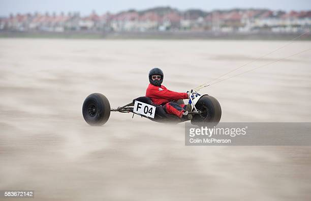 Philippe Leroy of France taking part in one of the races at the European Kite Buggy Championships at Hoylake Wirral north west England Around 75...