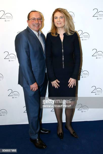 Philippe Levecque and Arielle de Rothschild attend the 2018 L'Oreal UNESCO for Women in Science Awards Ceremony at UNESCO on March 22 2018 in Paris...