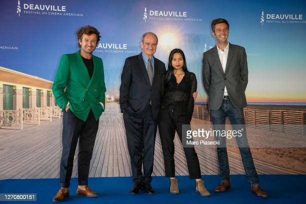"""Philippe Lezin, Pierre Lescure, Anna Lescure and Maxime Switek attend the """"Pierre & Lescure"""" photocall at 46th Deauville American Film Festival on..."""