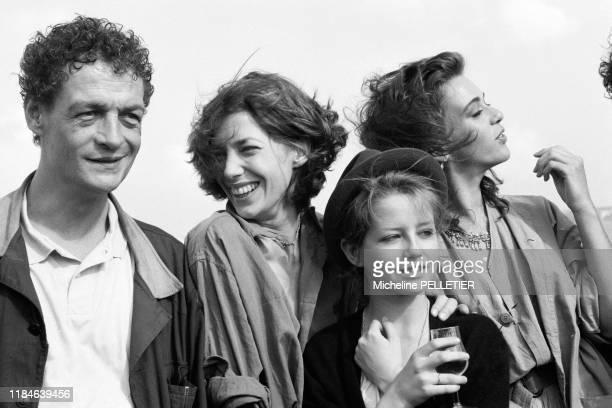 Philippe Léotard Jane Birkin et Maruschka Detmers lors du Festival de Cannes en mai 1984 France