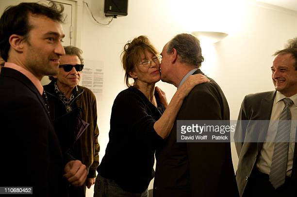 Philippe Manoeuvre Jane Birkin and Frederic Mitterand at Theatre du Chatelet on March 22 2011 in Paris France