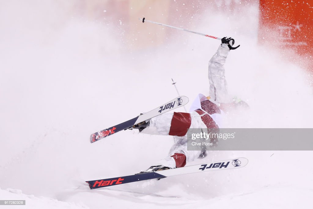 Philippe Marquis of Canada crashes in the Freestyle Skiing Men's Moguls Final on day three of the PyeongChang 2018 Winter Olympic Games at Phoenix Snow Park on February 12, 2018 in Pyeongchang-gun, South Korea.