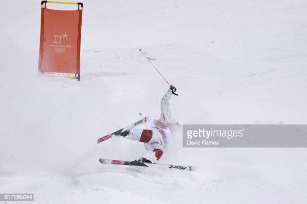 Philippe Marquis of Canada crashes in the Freestyle Skiing Men's Moguls Final on day three of the PyeongChang 2018 Winter Olympic Games at Phoenix...