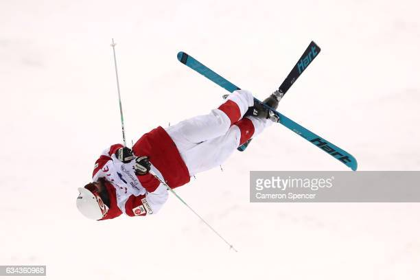 Philippe Marquis of Canada performs an air during a men's moguls training session prior to the FIS Freestyle World Cup at Bokwang Snow Park on...
