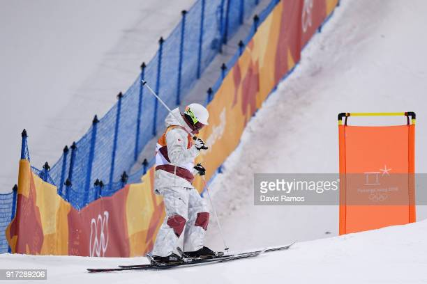 Philippe Marquis of Canada reacts after crashing in the Freestyle Skiing Men's Moguls Final on day three of the PyeongChang 2018 Winter Olympic Games...