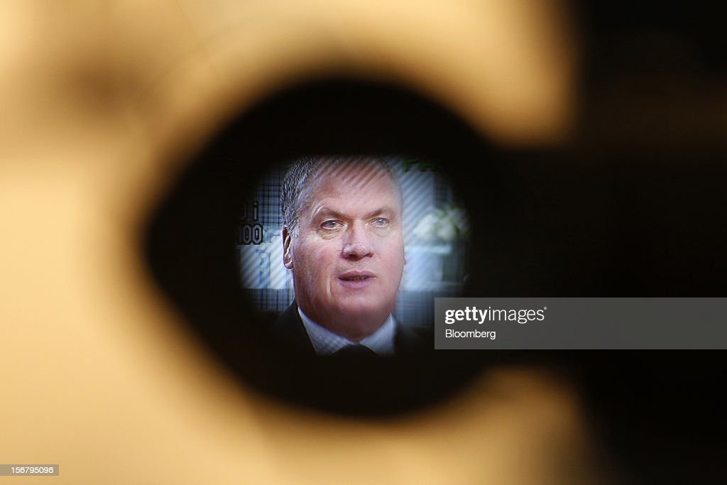 Philippe Mellier, chief executive officer of De Beers, is seen through the view finder of a TV camera during a Bloomberg Television interview at the company's Bond Street jewelry store in London, U.K., on Tuesday, Nov. 20, 2012. De Beers, the biggest rough diamond producer by revenue, is moving the sorting and trading of rough stones to Botswana from London to secure access to the world's largest supplier of diamonds by value. Photographer: Simon Dawson/Bloomberg via Getty Images