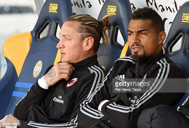 Philippe Mexes and Kevin Prince Boateng of AC Milan look during the Serie A match between Hellas Verona FC and AC Milan at Stadio Marc'Antonio...