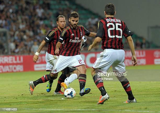 Philippe Mexes Antonio Nocerino and Daniele Bonera of AC Milan in acion during the TIM Preseason Tournament between US Sassuolo FC Juventus and AC...