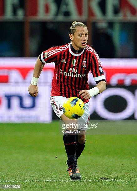 Philippe Mexes of AC Milan during the Serie A match between AC Milan and AC Siena at Stadio Giuseppe Meazza on December 17 2011 in Milan Italy