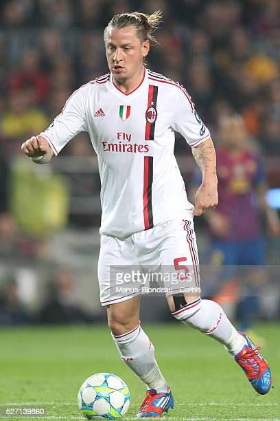 Philippe Mexes of AC Milan during the UEFA Champions League quarter final second leg match between FC Barcelona and AC Milan at Camp Nou stadium on...