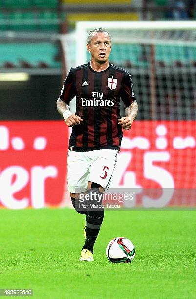Philippe Mexes of AC Milan in action during the Berlusconi Trophy match between AC Milan and FC Internazionale at Stadio Giuseppe Meazza on October...