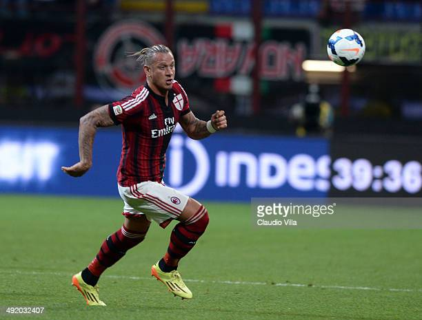 Philippe Mexes of AC Milan in action during the Serie A match between AC Milan and US Sassuolo Calcio at San Siro Stadium on May 18 2014 in Milan...
