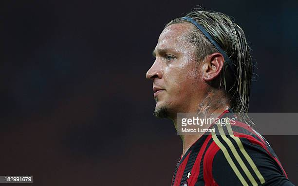 Philippe Mexes of AC Milan looks on during the Serie A match between AC Milan and UC Sampdoria at Stadio Giuseppe Meazza on September 28 2013 in...
