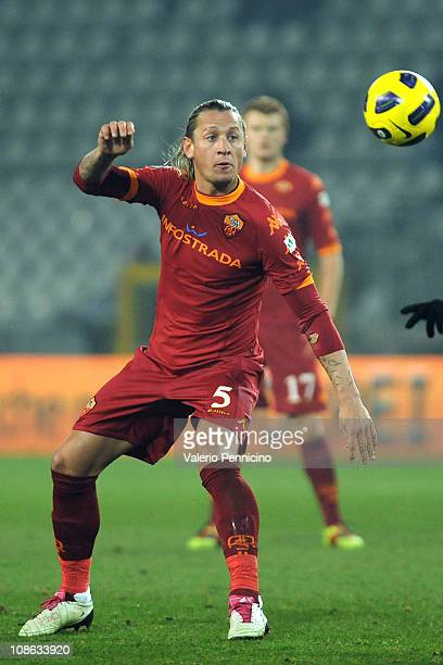 Philippe Mexes of AS Roma competes during the Tim Cup match between Juventus FC and AS Roma at Olimpico Stadium on January 27 2011 in Turin Italy