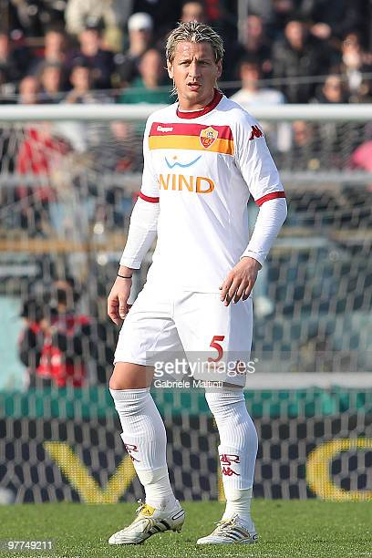 Philippe Mexes of AS Roma in action during the Serie A match between AS Livorno Calcio and AS Roma at Stadio Armando Picchi on March 14 2010 in...