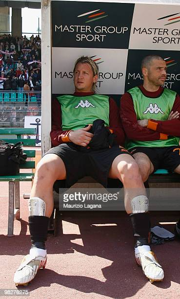 Philippe Mexes of AS Roma is shown in the banch before the Serie A match between AS Bari and AS Roma at Stadio San Nicola on April 3 2010 in Bari...