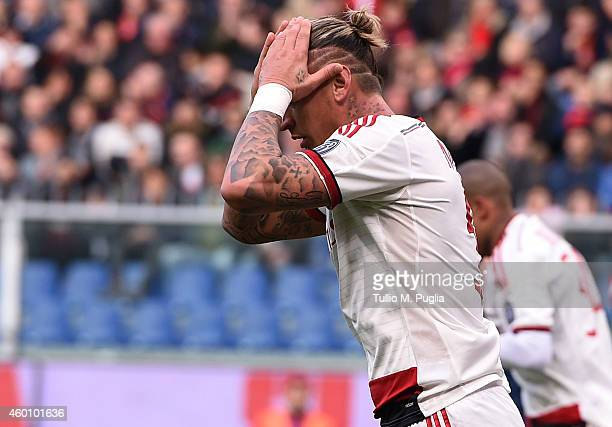 Philippe Mexes of Milan show his dejection during the Serie A match between Genoa CFC and AC Milan at Stadio Luigi Ferraris on December 7 2014 in...