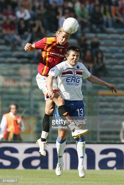 Philippe Mexes of Roma in action against Vitali Kutuzov of Sampdoria during the Serie A match between Roma and Sampdoria at the Stadio Olimpico on...