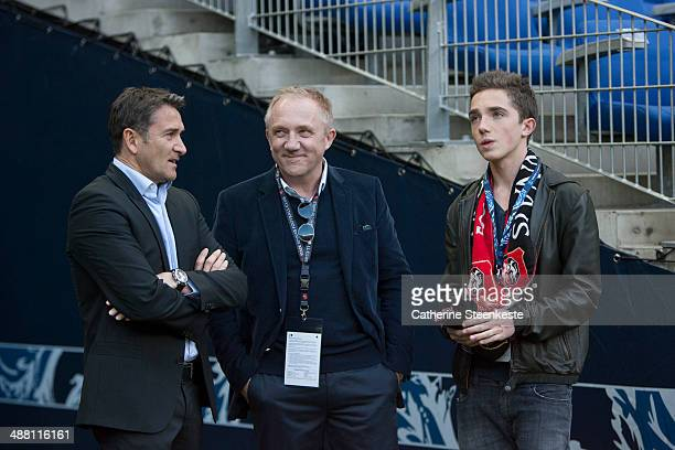 Philippe Montanier Head Coach of Stade Rennais FC FrancoisHenri Pinault CEO of Kering and owner of Stade Rennais FC and his son Francois Pinault are...