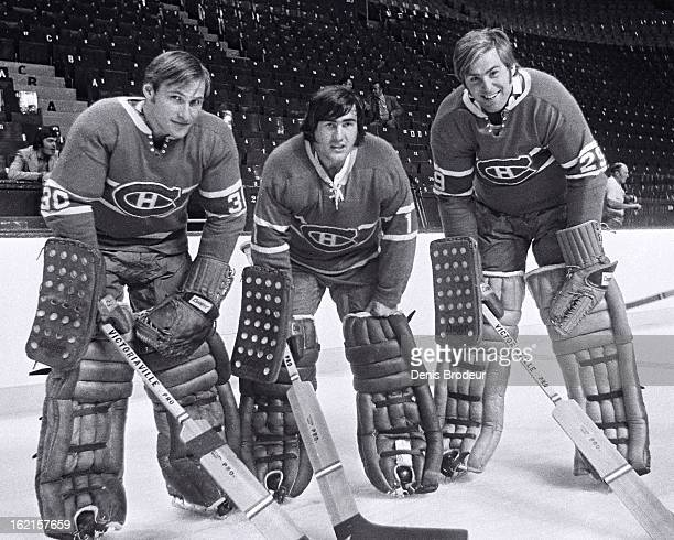 Philippe Myre Rogatien Vachon and Ken Dryden of the Montreal Canadiens pose for a photo at the Montreal Forum circa 1970 in Montreal Quebec Canada