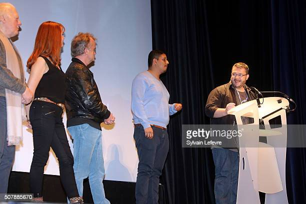 Philippe Nahon, Justine Le Pottier, Dominique Pinon, Gil Pinheiro and Pascal Thiebaux attend Closing Ceremony of 23rd Gerardmer Fantastic Film...