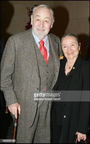 Philippe Noiret and Monique Chaumette at the Paris Premiere Of The Movie Combien Tu M'Aimes At La Cinematheque Francaise
