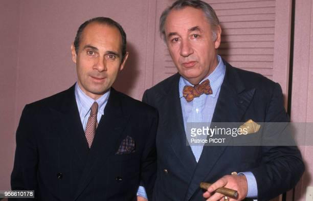 Philippe Noiret et Guy Marchand le 10 mai 1985 à Paris, France.