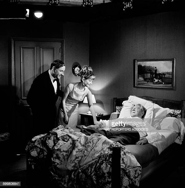 Philippe Noiret Liselotte Pulver and Jean Gabin On the Set of the Movie 'Monsieur' Directed By JeanPaul Le Chanois in Paris France in 1964
