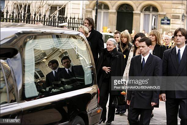 Philippe Noiret's funeral at the Basilica of Saint Clotilde in Paris France on November 27 2006 Monique Chaumette Philippe Noiret wife and his...