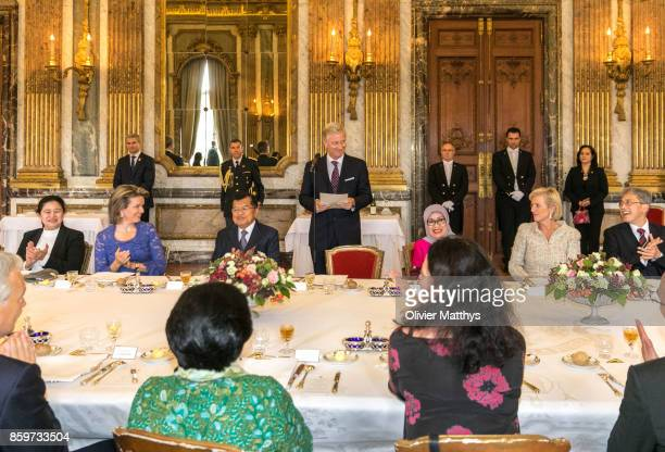 Philippe of Belgium delivers a speech to Coordinating Minister for Human Rights and Culture of Indonesia Puan Maharani Queen Mathilde of Belgium...