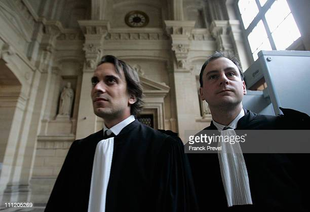 Philippe Ohayon and Yves Levano the lawyer of the 75 yearold retired German doctor Dieter Krombach is seen during the second day in the trial of...