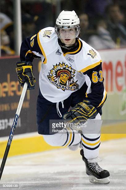 Philippe Paradis of the Shawinigan Cataractes skates during the game against the Rouyn-Noranda Huskies at the Bionest Centre on October 29, 2009 in...