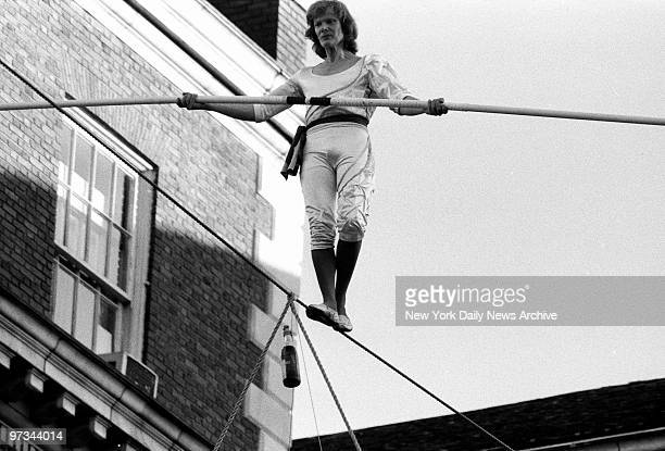 Philippe Petit who trod a spidery cable 1350 feet above the ground beteen the towers of the World Trade Center in 1974 quaffed a glass of bubbly...