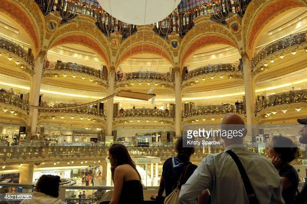Philippe Ramette's installation is showcased during the 'Vitrines Sur L'Art' Press Preview at Galeries Lafayette on July 15 2014 in Paris France
