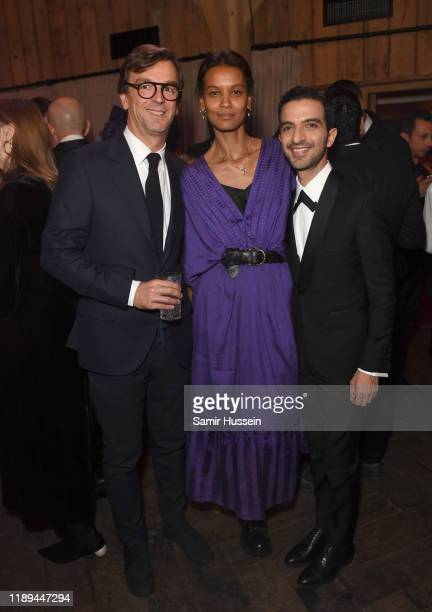 Philippe Rousselet Liya Kebede and Imran Amed attend the gala dinner in honour of Edward Enninful winner of the Global VOICES Award 2019 during...