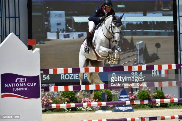 Philippe Rozier of France riding Rahotep de Toscane during the FEI Nations Cup Piazza di Siena on May 26 2017 in Villa Borghese Rome Italy