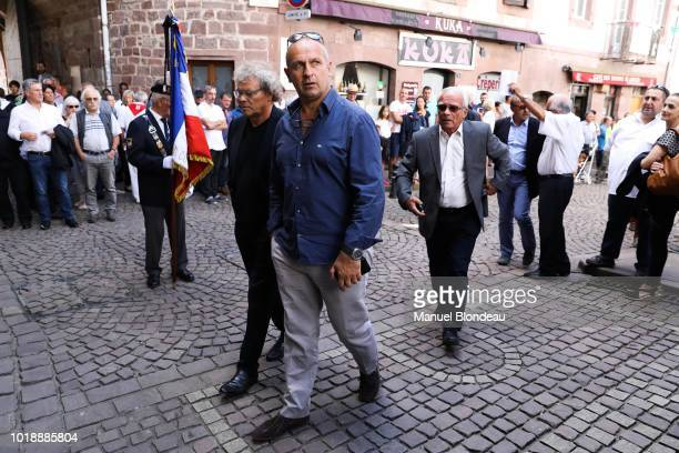 Philippe Saint Andre and Jo Maso are seen at the burial of Pierre Camou in Saint Jean Pied de Port during the Funeral of former rugby player Pierre...