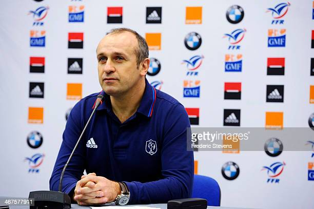 Philippe Saint Andre head coach of France rugby national team announces the team for the six nations Rugby union match between France and Italian...